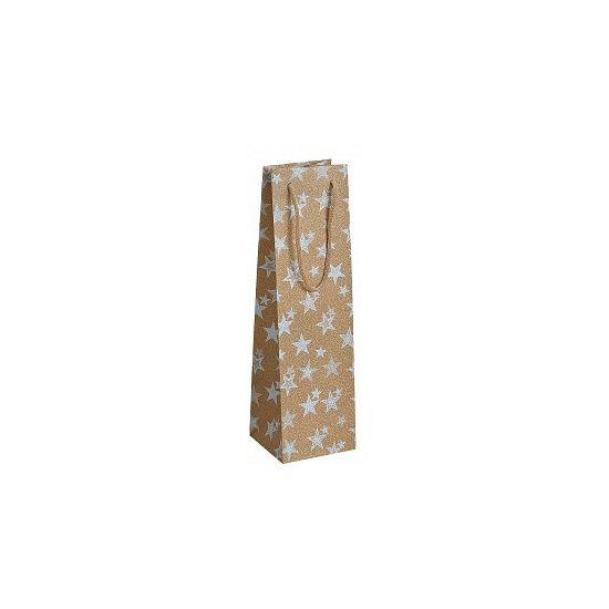 Flessen kadotasje goud met sterren 11 x 36 cm. Gouden glitter kadotasje van plastic om een fles wijn of andere drank in te verpakken. Leuk voor verjaardagen of andere feestelijke gelegenheid. Formaat: ongeveer 10 x 11 x 36 cm.