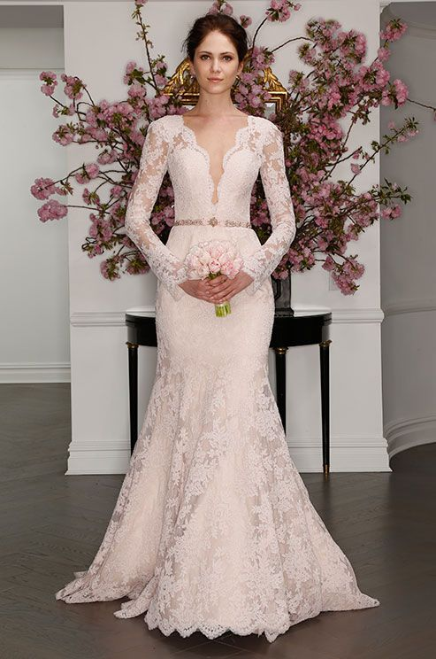 Blush La Vie En Rose Lace Wedding Dress With Deep V Neckline Legends Romona Keveza