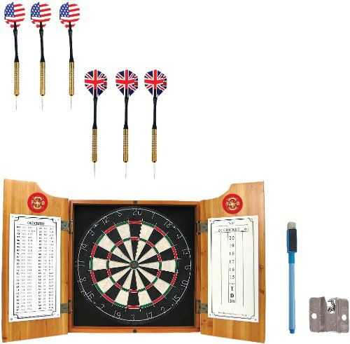 NCAA Brown Dart Cabinet With Darts And Board By Trademark Global. NCAA  Brown Dart Cabinet With Darts And Board.