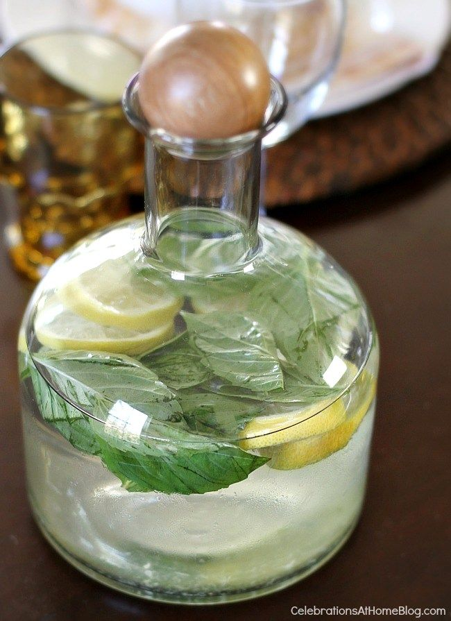 Host an Italian themed dinner party with these ideas and inspiration. lemon basil water
