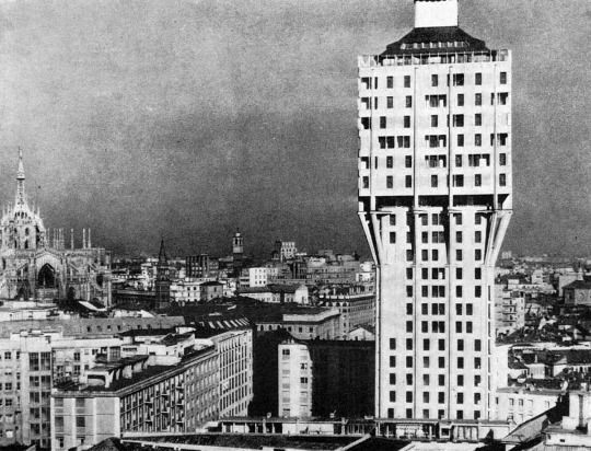 Housing Structure Torre Velasca Piazza Velasca, Milan, Italy; 1956-58 BBPR (Gian Luigi Banfi, Lodovico Barbiano di Belgiojoso, Enrico Peressutti and Ernesto Nathan Rogers)