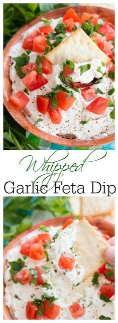 This creamy garlic feta dip is easy to make and perfect with crackers, pretzels, and veggies. The perfect appetizer for spring and summer!