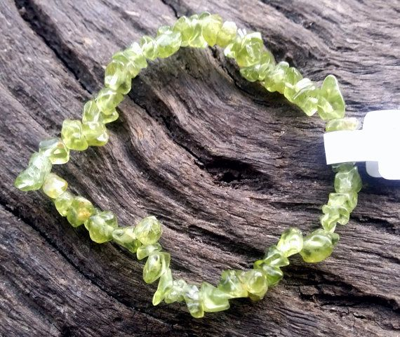 Peridot Green Crystal Gemstone Chip Beaded by crystalzngems