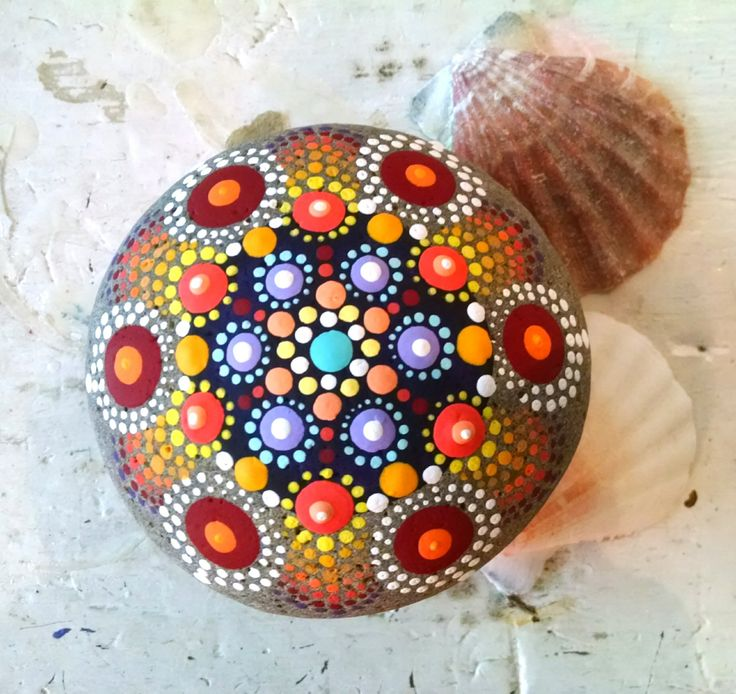 Colorful Painted Rock ~ Vibrant Mandala Stone ~ Hand Painted Rock Art ~ Dot art on Stone ~ Original Artwork by Miranda Pitrone by P4MirandaPitrone on Etsy
