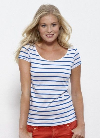 Lola - ladies' light white tee with blue summer stripes. Fair trade and made in Bangladesh with 100% organic cotton.