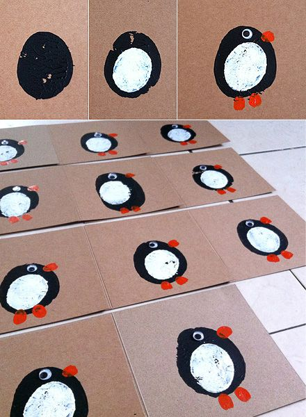 These potato print penguin cards are adorable.