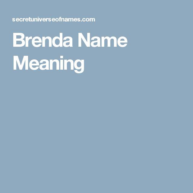 Brenda Name Meaning