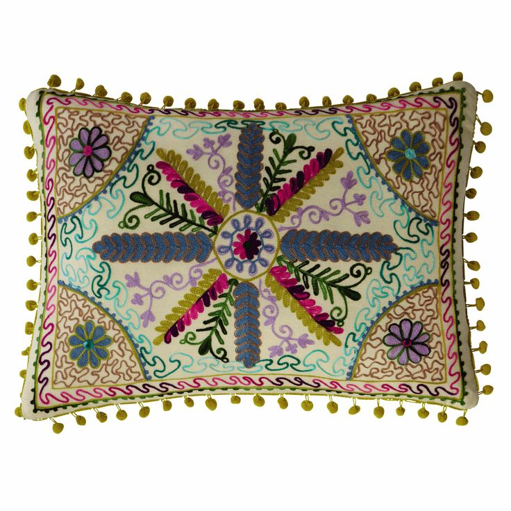 ROSARIO cotton cushion with pompoms, multicoloured 35 x 50cm