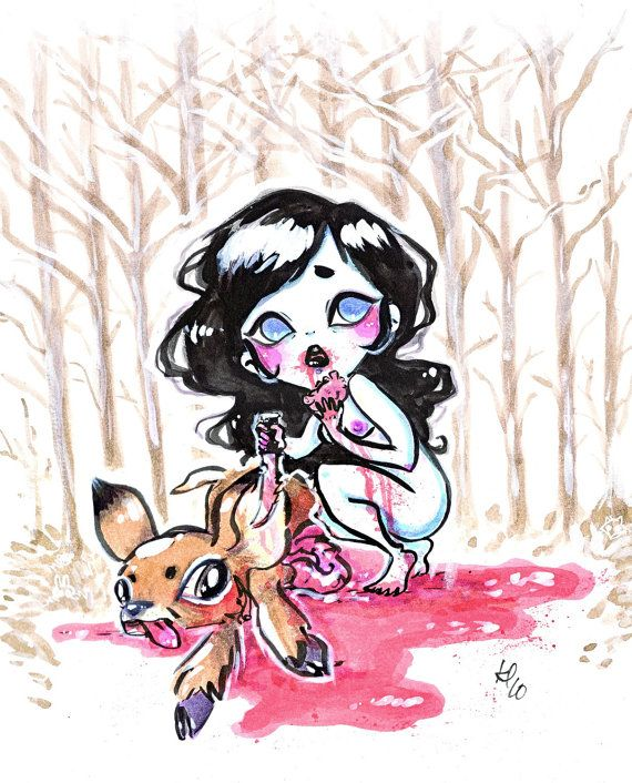 Print 5x7  MEAT  Snow White Dines on Bambi by ZombieRomance, $8.00