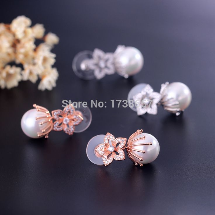 Jamina New Arrival Micro CZ and White/Rose Gold Plated Flower Freshwater Pearl Earrings Charm For Women Wedding dDrop Earrings-in Drop Earrings from Jewelry on Aliexpress.com | Alibaba Group