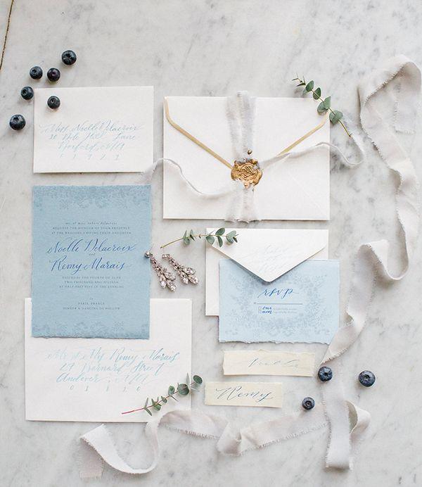Blue and Gold Wedding Invitation Suite | Deborah Zoe Photography on @limnandlovely via @aislesociety