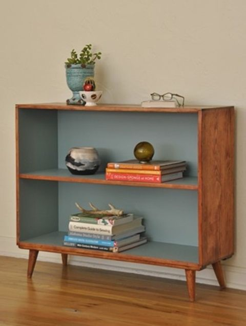 Mid-century Bookcases for Your Modern Interior Design: Grey Colour Inside For Classy Wooden Shelving Design In Mid Century Design For Decorating Room ~ Salernophoto.com