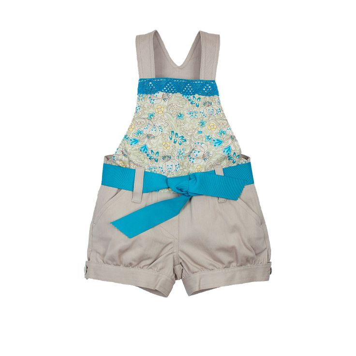 Turquoise Flower Dungarees from Lace & Ribbons