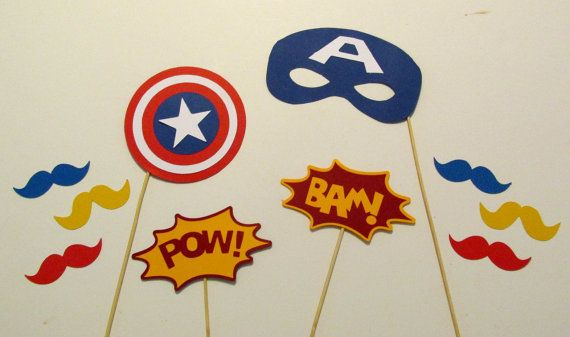 Photo Booth Props 10 pc Captain America Superhero Photobooth Props Avengers Party Superhero Party Captain America Decorations on Etsy, $20.00