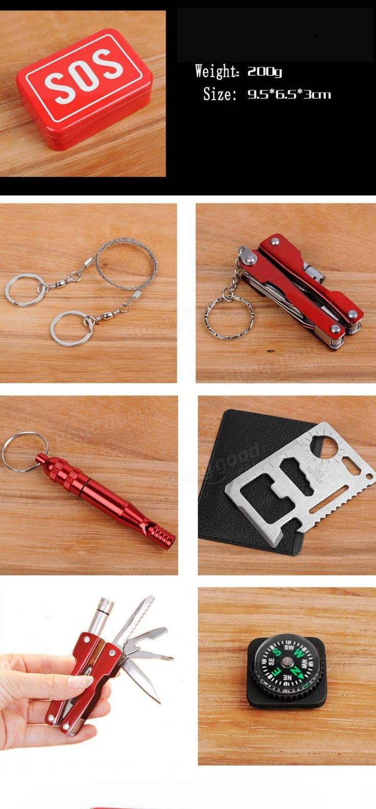 SOS Emergency Equipment Tool Kit First-aid Box Fishing Supplies Outdoor Survival Gear Sale - Banggood.com