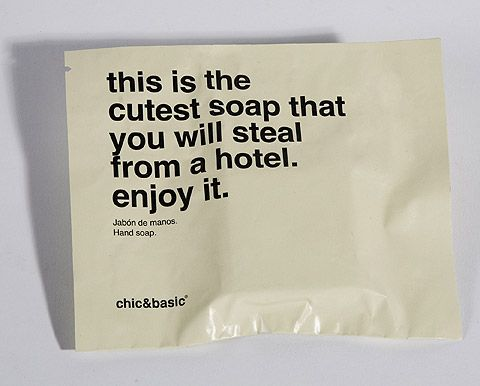 The beautiful, minimalist and slightly irreverent design aesthetic that Barcelona's Chic & Basic Born Hotel sets up with its stunning interior layout is carried through perfectly into its product packaging, which features cheeky, bold messaging in large, unadorned fonts.