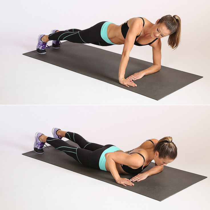 We love push-ups and this asymmetrical variation is killer. It's great for the abs and the arms.