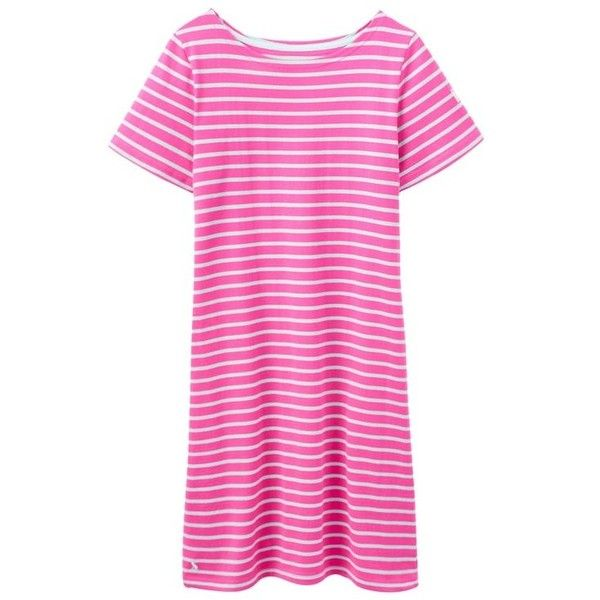 Women's Joules Riviera Jersey Dress ($36) ❤ liked on Polyvore featuring dresses, jersey dress, cotton jersey, beach dress, cotton dress and pink dress