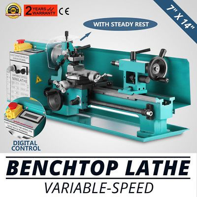 """ZX7X14 7"""" X 14""""Variable-Speed Benchtop Lathe Metal Motorized Machine GREAT"""