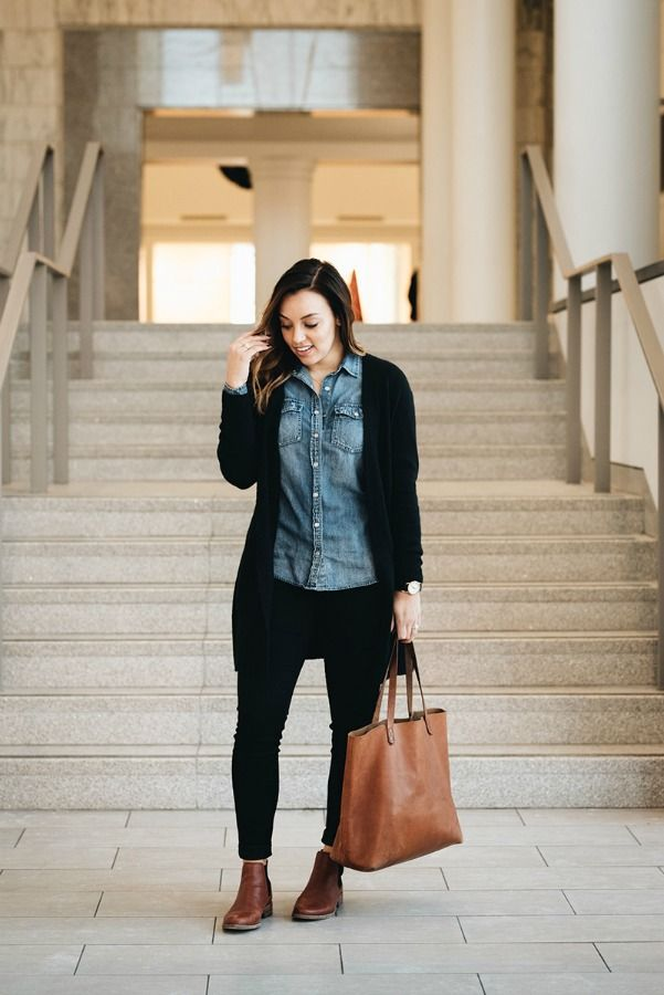 easy weekend outfit - J.Crew chambray shirt and cardigan