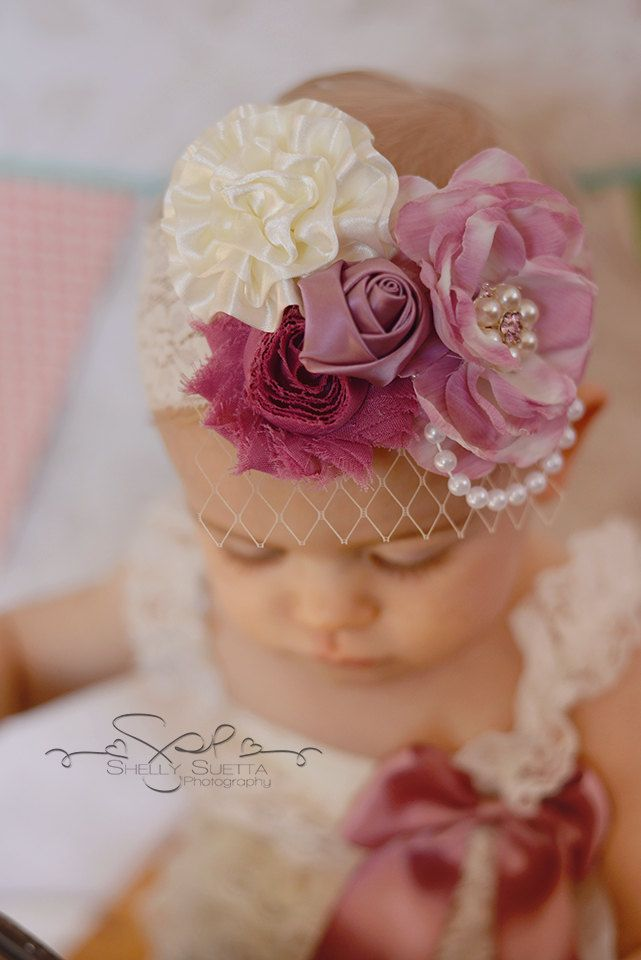 Ivory & Dusty Rose Lace Headband Russian by AverysKnitAndStitch