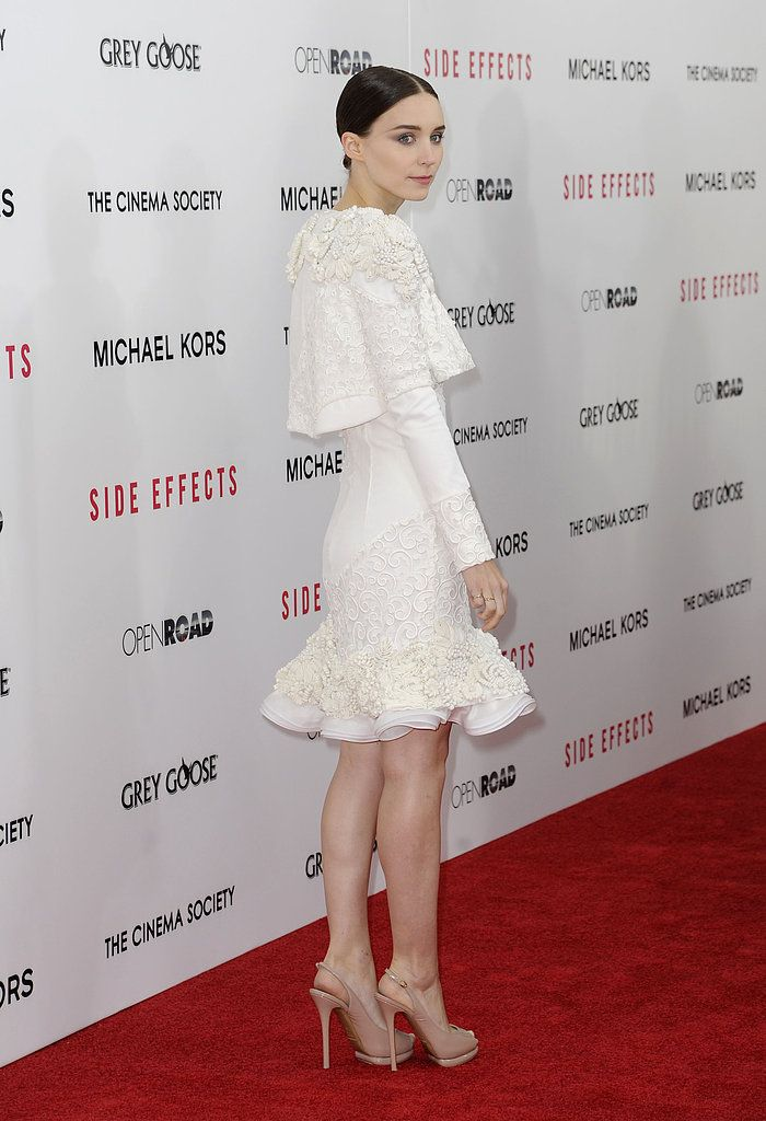Channing, Rooney, and Jude Team Up For Their Side Effects Premiere: Rooney Mara wore a white dress.