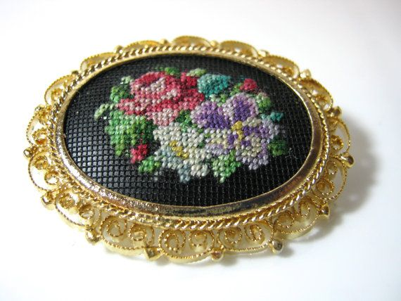 Vintage Petit Point on Filigree Brooch by GimmeeDatBling on Etsy, SOLD!