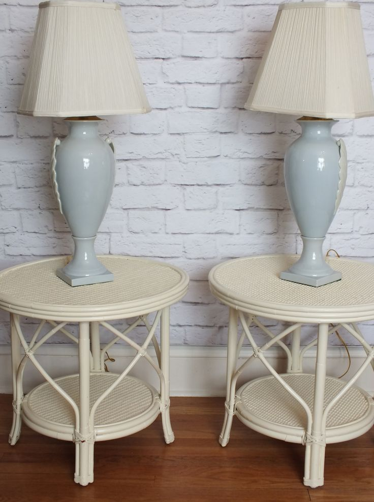Pair Vintage Quality Painted Rattan Side Tables · Accent PiecesVintage ...