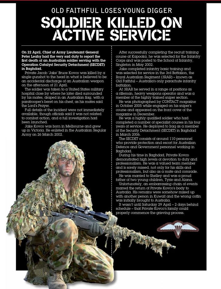 Private Jake Kovco, 3RAR. Published in issue #10, June 2006