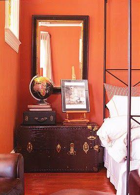 Great idea for my new antique steamer trunk! [tangerine tango] l ballarddesigns.com