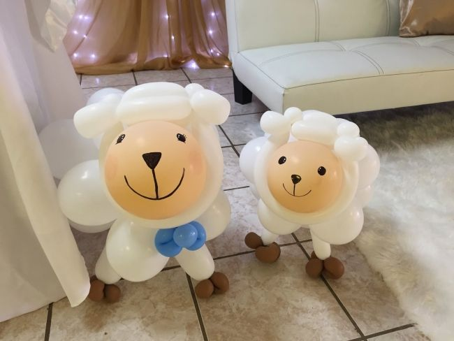 Little Lamb Themed Boys Baby Shower Party Decoration Balloon Ideas