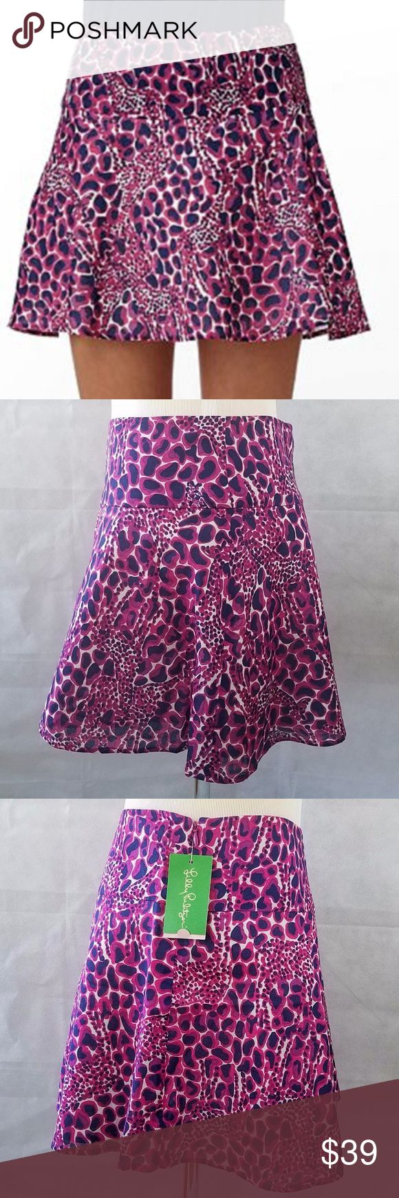 """CHARLESTON mini skirt is from LILLY PULITZER 4 LILLY PULITZER Mini Skirt Burgundy Giraffe HOLLYHOCK Gigi Charleston 6  CHARLESTON mini skirt is from LILLY PULITZER.  Size: 4 The skirt is fully lined in a soft cotton. The shell or top fabric is also a soft cotton. And it is cut at the bias, giving it a flirty A-line silhouette. The pattern is called Hollyhock Gigi. The print consists of large and small giraffes. Coloring is burgundy, cranberry, white and dark navy-blue. Length: 16"""" Waist…"""