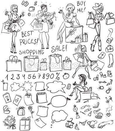Shopping doodles, set — Stock Illustration #43295843