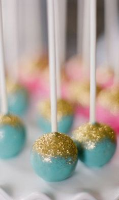 mint with pink glitter thinking cake pops will be at my wedding