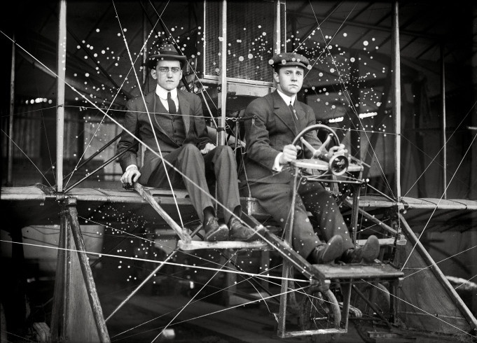 """Washington, D.C., circa 1911. """"Flights and test of Rex Smith biplane flown by Antony Jannus. The plane with Rufus R. Bermann, wireless operator, and Fred Aubert."""" TIME"""