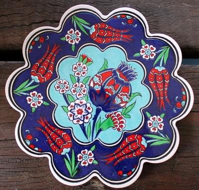 Turkish ceramic trivet - traditional Ottoman designs - quality - pomegranate blu