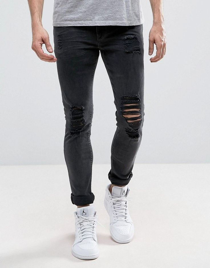ASOS Super Skinny Jeans In Washed Black With Heavy Rips - Black