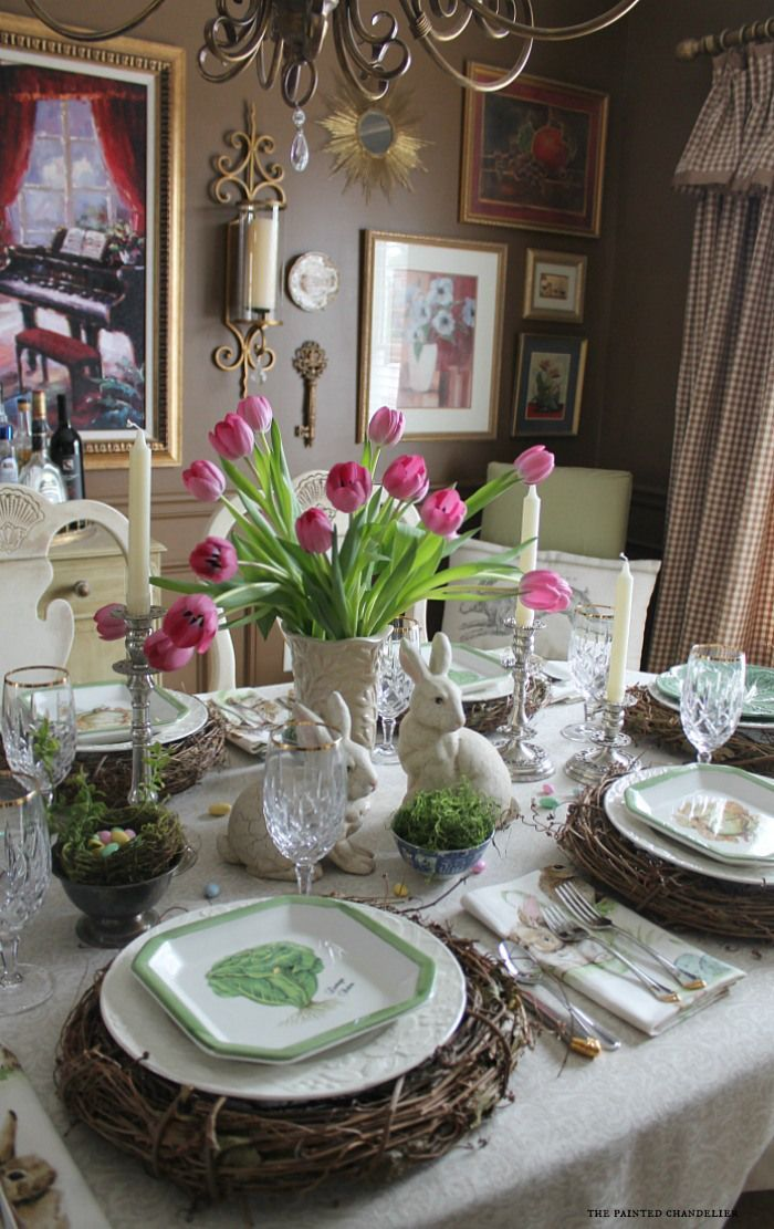 Lovely table dressed up for Easter tablescape