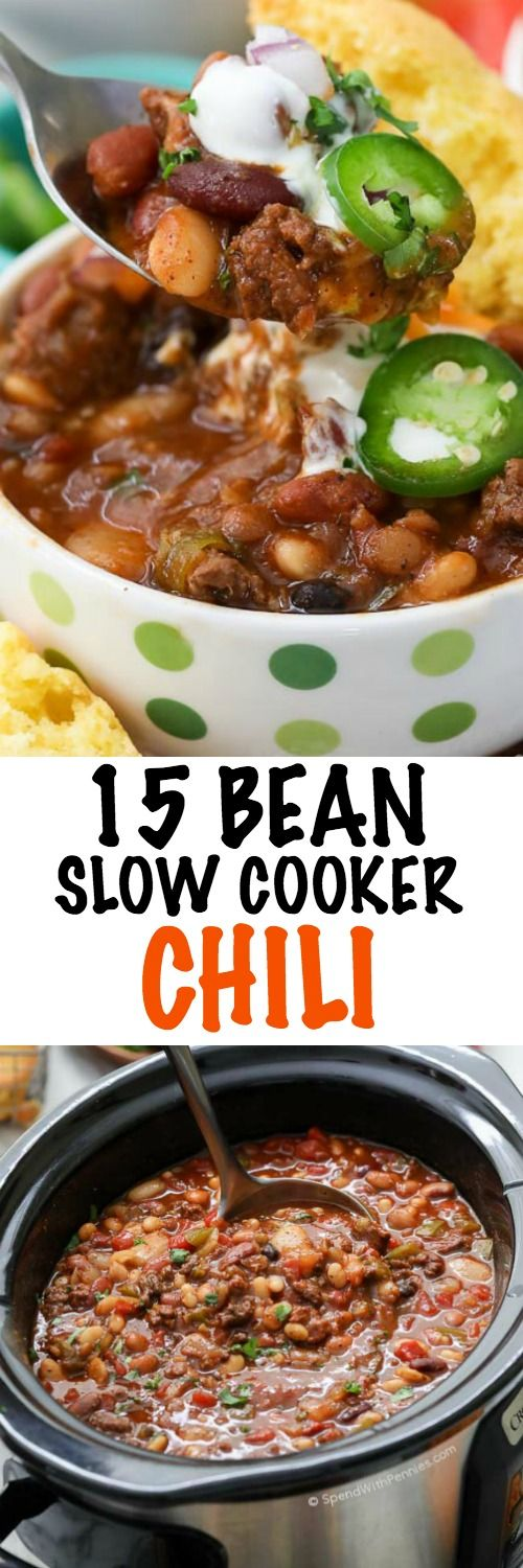 15 Bean Slow Cooker Chili is hearty and delicious, making it the perfect food to fuel the crowd on game day or a delicious easy weeknight meal! When serving a crowd, we put this chili on in the morning and then prepare a chili bar with toppings so our guests can help themselves!
