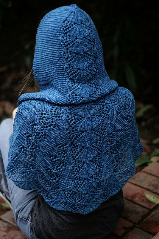 Beautiful Hooded Shawl. knitted. surely it must be possible to find a tunisian equivalent for some of these gorgeous lace knit stitches.