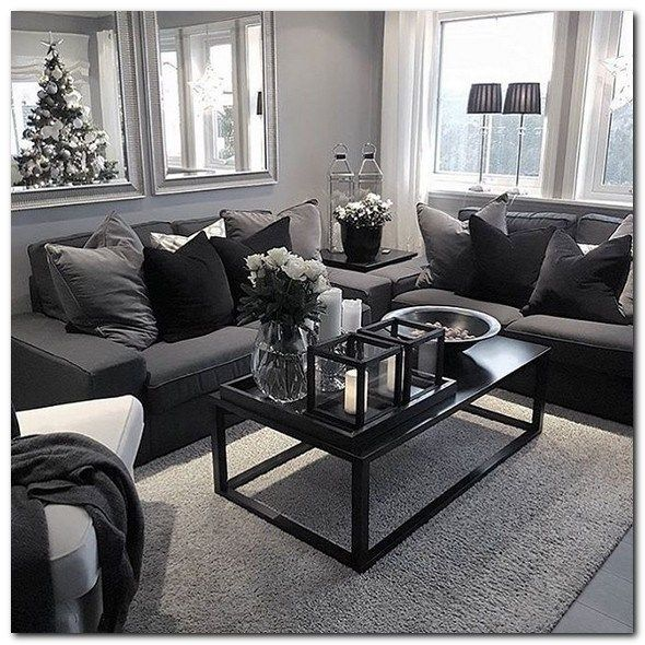 55 Trendy Living Room Decor Black Couch Plants Small Modern Living Room Living Room Design Modern Small Apartment Living Room