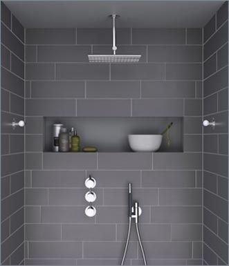 Contemporary look with this modern wet room, creating a tiled niche, like in the picture give the look of a spa hotel, great shower controls recessed into the wall, overhead shower & body jets, and the obligatory hand shower, modern european styling