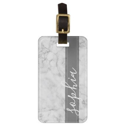 Trendy Faux Marble Pattern with Custom Monogram Luggage Tag - stylish gifts unique cool diy customize