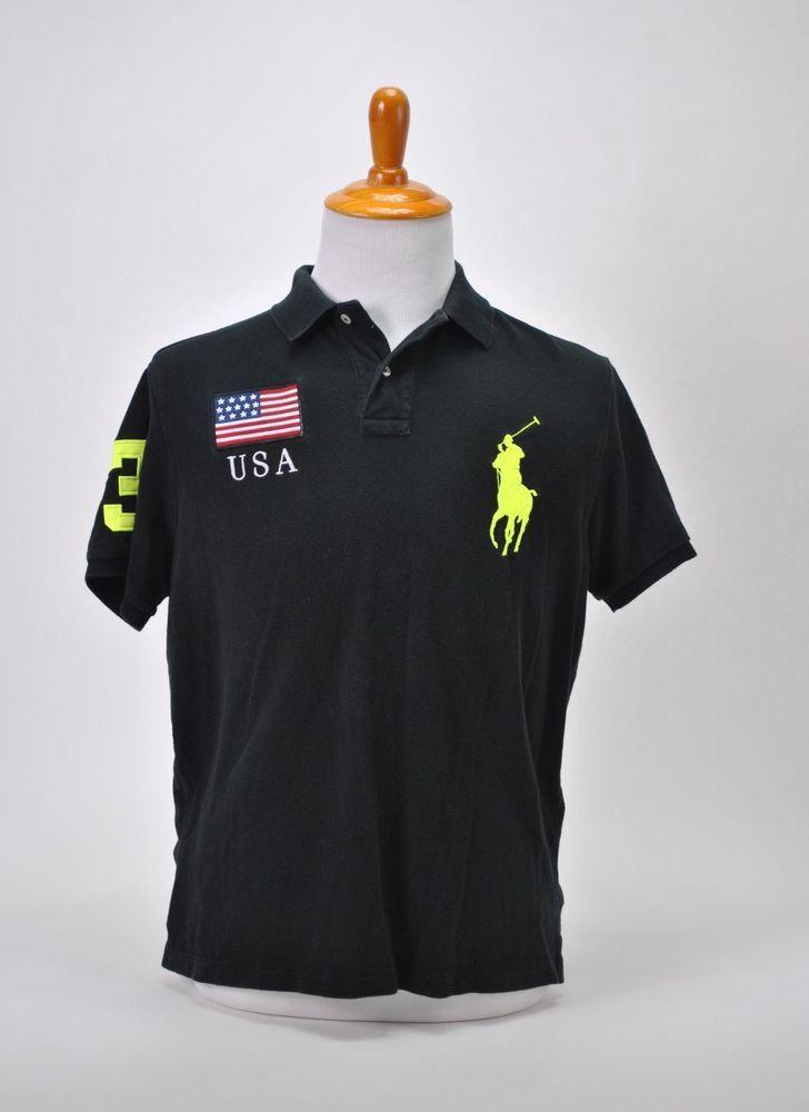 2ef98bd7a361 Polo Ralph Lauren Men Black Neon Shirt USA Flag Large Custom Fit Big Pony  #PoloRalphLauren #Poloshirt