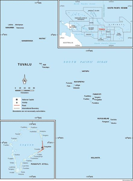 Map of Tuvalu showing the islands