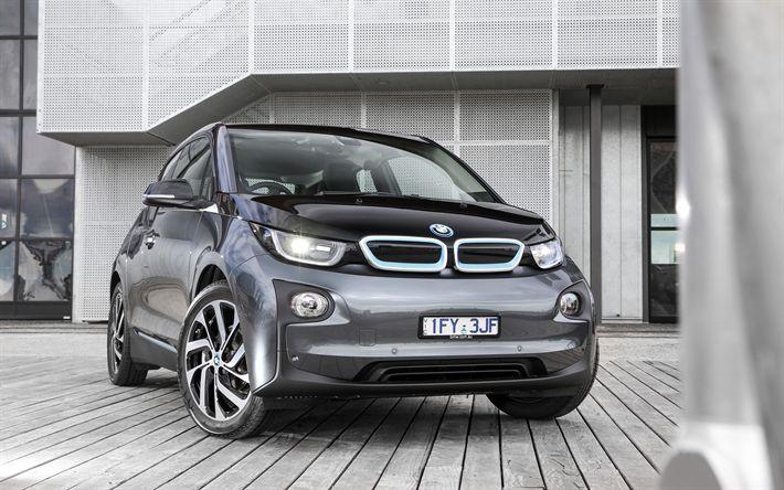 Télécharger fonds d'écran BMW i3, 4k, 2018 voitures, voitures allemandes, voitures compactes, gris i3, BMW