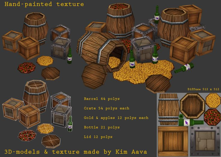 Handpainted barrel crates etc by ~Mad-Owl on deviantART (Mad-Owl, 2012)