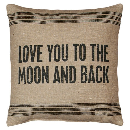 Love you to the Moon and Back quote pillow #moon #quote #pillow