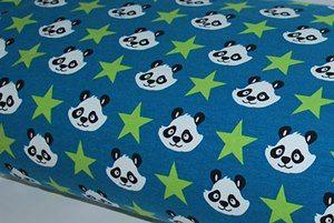 Sweat molleton coton bio panda fond canard - coupon de 50 cm - second choix
