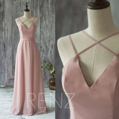 2016 Long Chiffon Bridesmaid Dress Straps, Dusty Thistle Wedding Dress, V Neck Spaghetti Strap Prom Dress, Evening Gown Floor Length (T159)